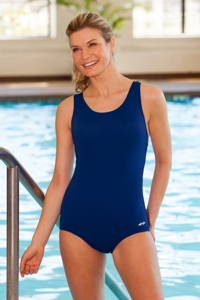 Dolfin Plus Size Power Back Solid Polyester One Piece Chlorine Resistant Swimsuit Navy