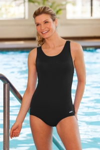 Dolfin Plus Size Power Back Solid Polyester One Piece Chlorine Resistant Swimsuit Black