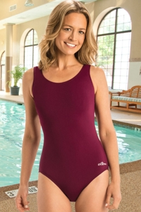 Chlorine Resistant Dolfin Aquashape Maroon Moderate Scoop Back One Piece Swimsuit