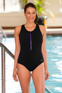 Dolfin Plus Size Color Block Zip Front Chlorine Resistant Swimsuit Black/Purple