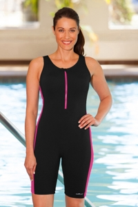 Dolfin Color Block Zip Front Chlorine Resistant Aquatard Black/Pink