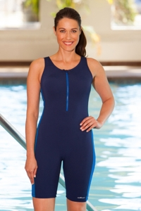 Dolfin Plus Size Color Block Zip Front Chlorine Resistant Aquatard Navy/Blue