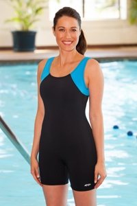 Dolfin Color Block Polyester Aquatard Chlorine Resistant Swimsuit Turquoise