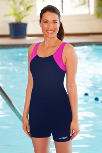 Dolfin Chlorine Resistant Plus Size Pink/Navy Color Block Aquatard