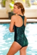 Dolfin Lacey Print Zip Front Chlorine Resistant Swimsuit Teal