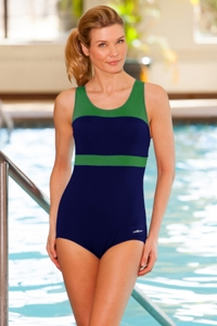 Dolfin Color Block Power Back Polyester One Piece Chlorine Resistant Swimsuit Navy/Green