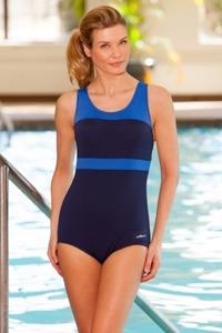 Dolfin Color Block Power Back Polyester One Piece Chlorine Resistant Swimsuit Navy/Royal