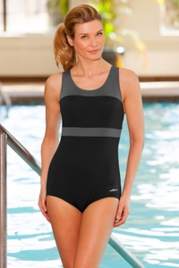Dolfin Plus Size Color Block Power Back Polyester One Piece Chlorine Resistant Swimsuit Grey