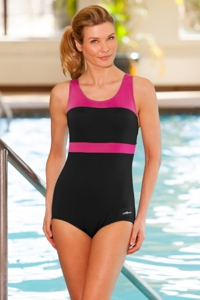 Dolfin Plus Size Color Block Power Back Polyester One Piece Chlorine Resistant Swimsuit Pink