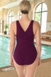 Krinkle Chlorine Resistant Eggplant Long Torso Cross Back One Piece Swimsuit