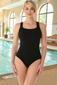 Krinkle Chlorine Resistant Black D-Cup Active Back One Piece Swimsuit