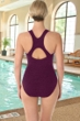 Krinkle Chlorine Resistant Eggplant D-Cup Active Back One Piece Swimsuit