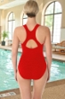 Krinkle Chlorine Resistant Red D-Cup Active Back One Piece Swimsuit