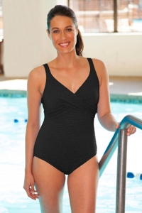Krinkle Black Twist Front One Piece Chlorine Resistant Swimsuit