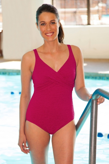 Krinkle Berry Twist Front One Piece Chlorine Resistant Swimsuit