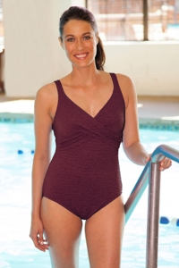 Krinkle Chlorine Resistant Merlot Wine Twist Front One Piece Swimsuit