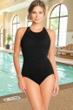 Krinkle Black Mastectomy High Neck One Piece Chlorine Resistant Swimsuit