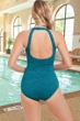 Krinkle Chlorine Resistant Dark Blue Cosmo Mastectomy High Neck One Piece Swimsuit