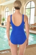 Krinkle Chlorine Resistant Periwinkle Purple Mastectomy Shirred One Piece Swimsuit