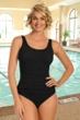 Krinkle Black Shirred One Piece Chlorine Resistant Swimsuit