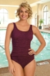 Krinkle Chlorine Resistant Merlot Wine Empire Shirred One Piece Swimsuit