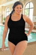 Krinkle Black Plus Size Shirred One Piece Chlorine Resistant Swimsuit