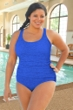 Krinkle Chlorine Resistant Periwinkle Purple Plus Size Empire Shirred One Piece Swimsuit
