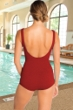 Krinkle Chlorine Resistant Brick Red Mastectomy Scoop Neck Sheath One Piece Swimsuit