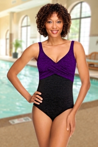 Krinkle Acai Color Block Twist Front Chlorine Resistant Swimsuit