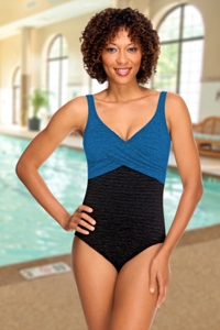 Krinkle Chlorine Resistant Black and Mykonos Blue Color Block Twist Front One Piece Swimsuit