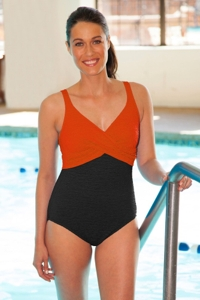 Krinkle Black/Tangerine Color Block Twist Front One Piece Chlorine Resistant Swimsuit