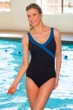 Krinkle Chlorine Resistant Black and Mykonos Blue Color Block Mock Surplice One Piece Swimsuit