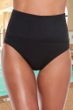 Chlorine Resistant Active Spirit Black Techkini High Waisted Tankini Bottom with Pockets