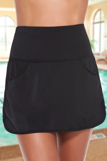 Active Spirit Chlorine Resistant Black Putting On Airs Techkini High Waisted Swim Skirt with Pockets