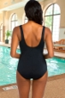 Chlorine Resistant Active Spirit Mystical Hues Square Neck One Piece Swimsuit with Pockets