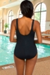 Chlorine Resistant Active Spirit Water Color Spritz High Neck One Piece Swimsuit with Pockets