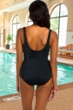 Chlorine Resistant Active Spirit Pink Dimension Square Neck One Piece Swimsuit with Pockets