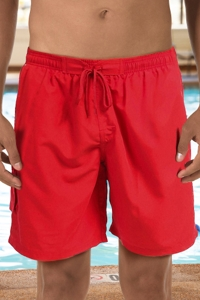 "Dolfin Red Chlorine Resistant 9"" Inseam Mesh Liner Men's Swim Trunks with Pockets"