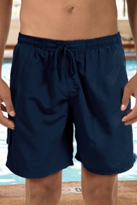 "Dolfin Navy Chlorine Resistant 9"" Inseam Mesh Liner Men's Swim Trunks with Pockets"