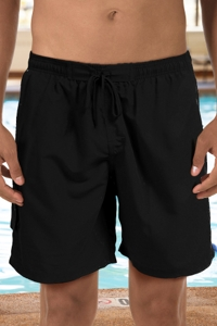 "Dolfin Black Chlorine Resistant 9"" Inseam Mesh Liner Men's Swim Trunks with Pockets"