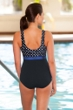 Chlorine Resistant Aquamore Swimmer Dot Print Block High Neck One Piece Swimsuit
