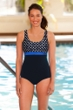 Chlorine Resistant Aquamore Swimmer Dot Print Block Scoop Neck One Piece Swimsuit