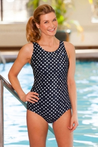 Chlorine Resistant Aquamore Swimmer Dot Racerback One Piece