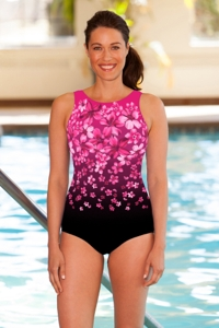 Chlorine Resistant Aquamore Pink Flower Rain High Neck One Piece Swimsuit