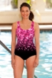 Chlorine Resistant Aquamore Pink Flower Rain Scoop Neck One Piece Swimsuit