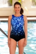 Chlorine Resistant Aquamore Blue Flower Rain High Neck One Piece Swimsuit
