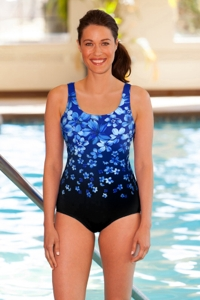 Chlorine Resistant Aquamore Blue Flower Rain Scoop Neck One Piece Swimsuit