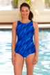 Chlorine Resistant Aquamore Wavy Dream Blue High Neck One Piece Swimsuit