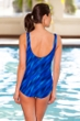 Chlorine Resistant Aquamore Wavy Dream Blue Scoop Neck One Piece Swimsuit