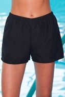 Chlorine Resistant Aquamore Black Microfiber Cover Up Short